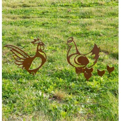 coq-poule-poussins-decoration-jardin-iriso